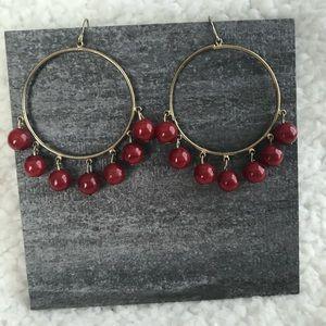 Francesca's Gold Hoop Red Beads Earrings